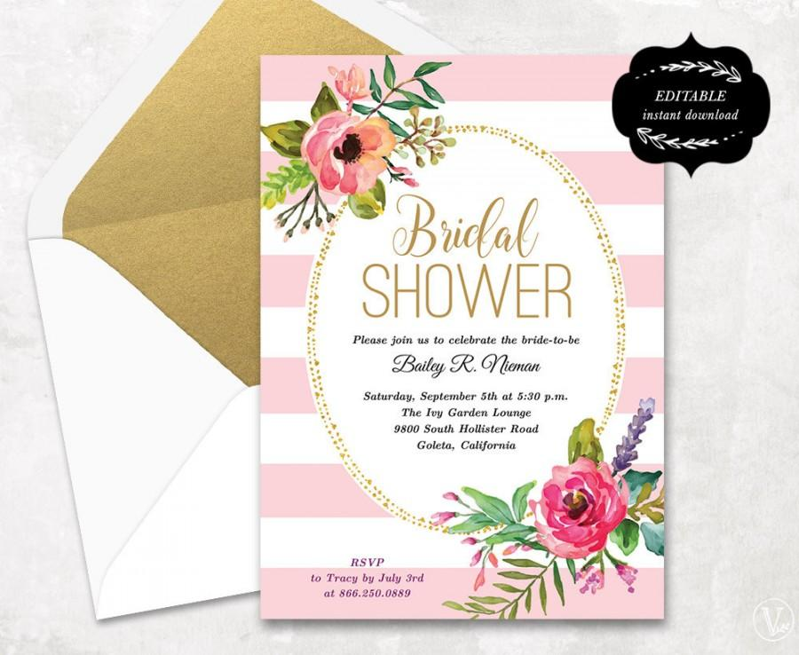 Blush Pink Floral Bridal Shower Invitation Template, Printable
