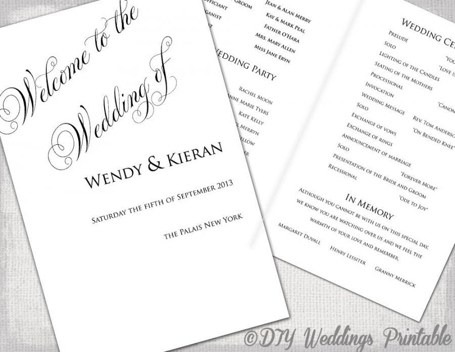 black and white wedding program template - Yelommyphonecompany