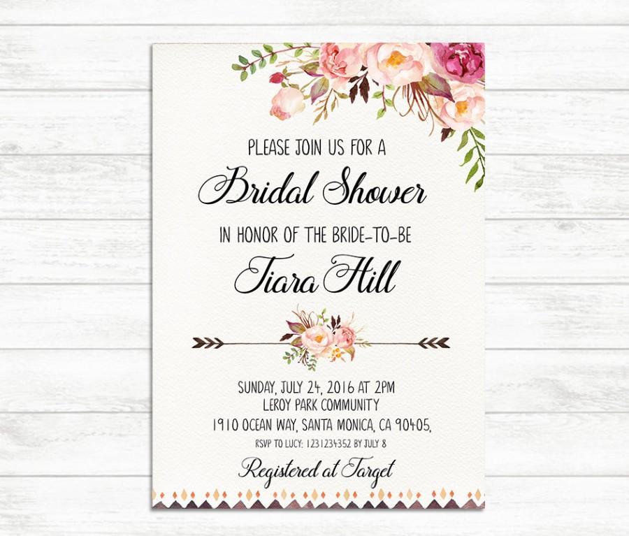 Bridal Shower Invitation, Printable Bridal Invite, Floral Bridal