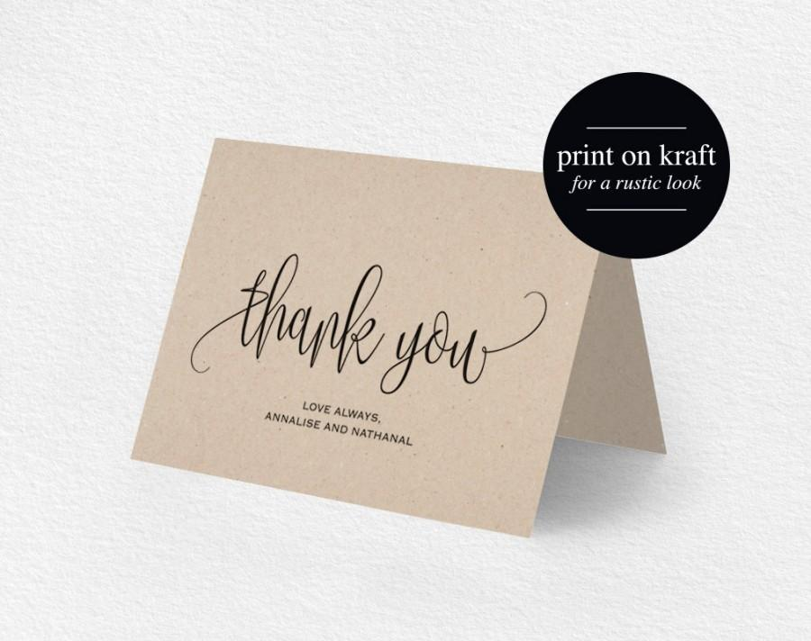 Thank You Card, Wedding Thank You, Thank You Card Template
