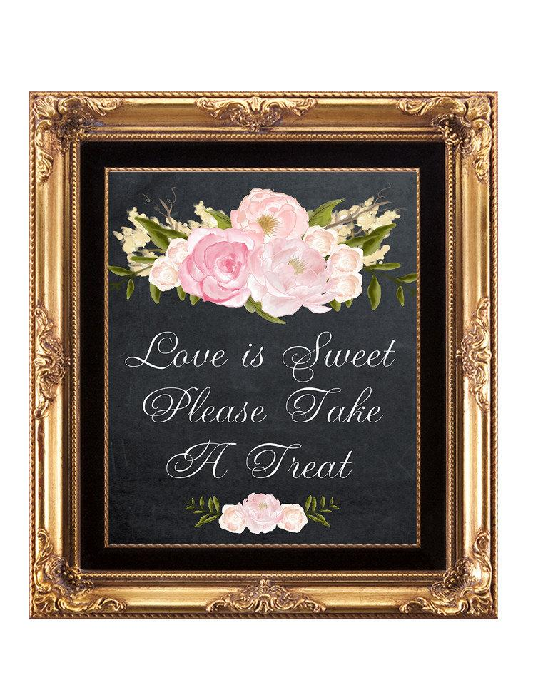 Printable Candy Buffet Sign, Printable Chalkboard Wedding Sign, Love