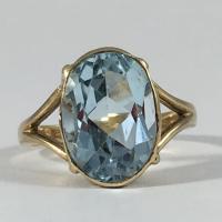 Vintage Blue Topaz Ring. 14K Yellow Gold Setting. Sky Blue ...