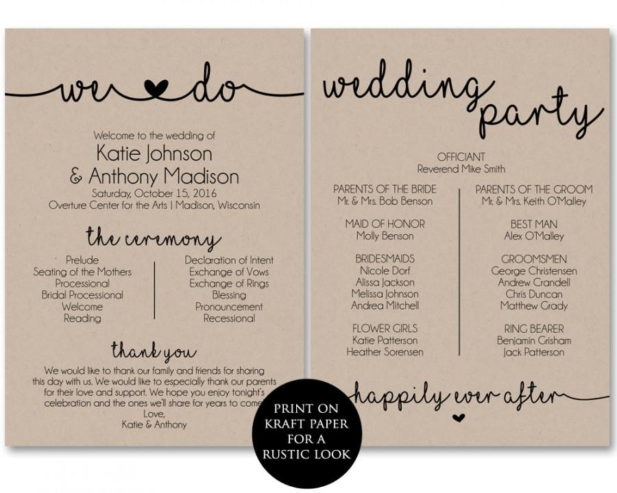 Ceremony Program Template, Printable Wedding Programs, Ceremony - wedding program template