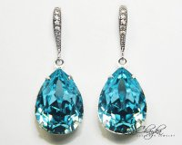 Aqua Blue Crystal Earrings Aquamarine Rhinestone Earrings