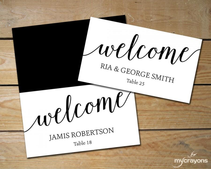DIY Place Cards Wedding, Black And White Place Cards   Editable - folded place card templates