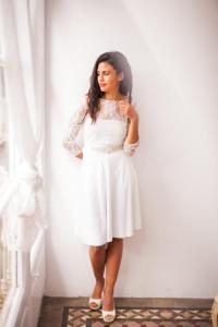 Short Wedding Dress With Sleeves, Lace Wedding Reception ...