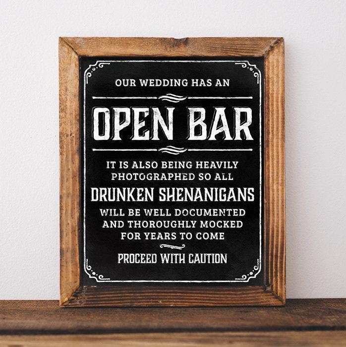Chalkboard Wedding Signs Printable Open Bar Wedding Sign Open Bar