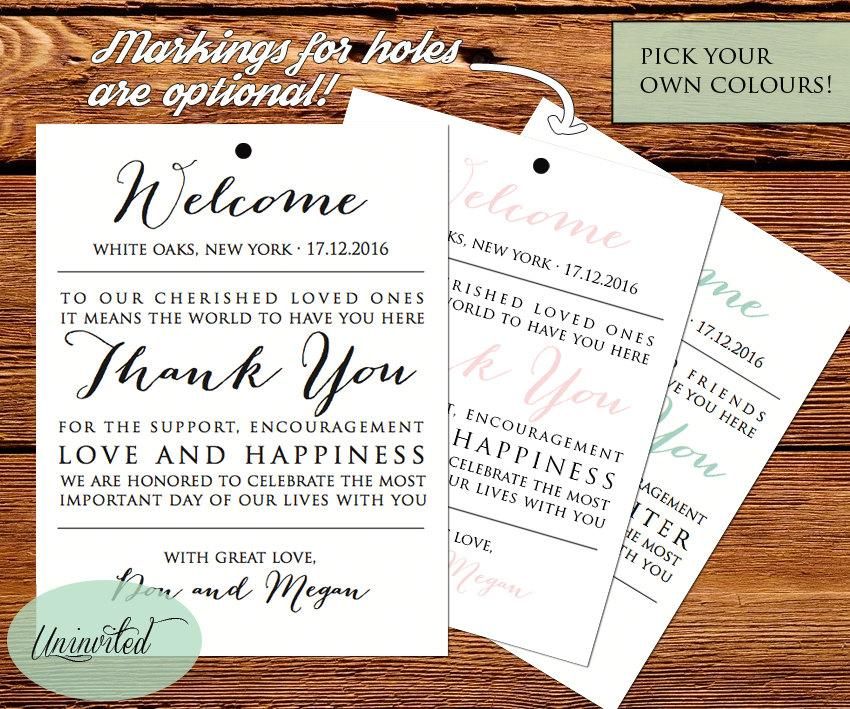 Wedding Tag, Printable Wedding Tags, Welcome Bags, Wedding Welcome