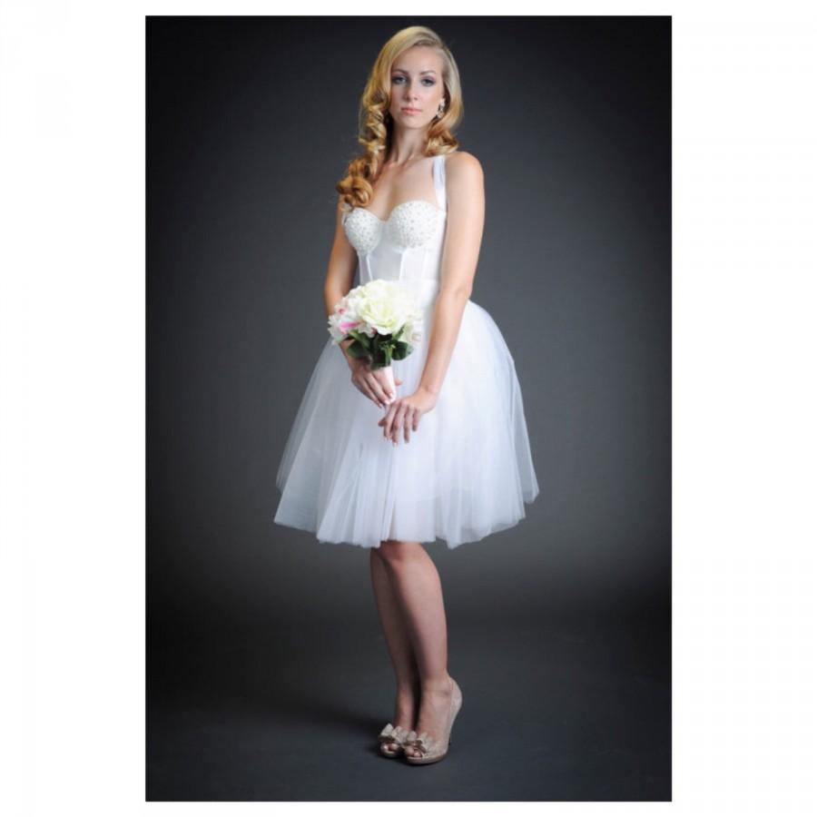 the pearl pinup short white wedding dress pearlshalterbustiertulle midiknee length short white wedding dresses The Pearl Pinup Short White Wedding Dress Pearls Halter Bustier Tulle Midi Knee Length
