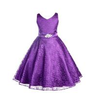 Wedding Floral Lace Overlay V-Neck Purple Flower Girl ...