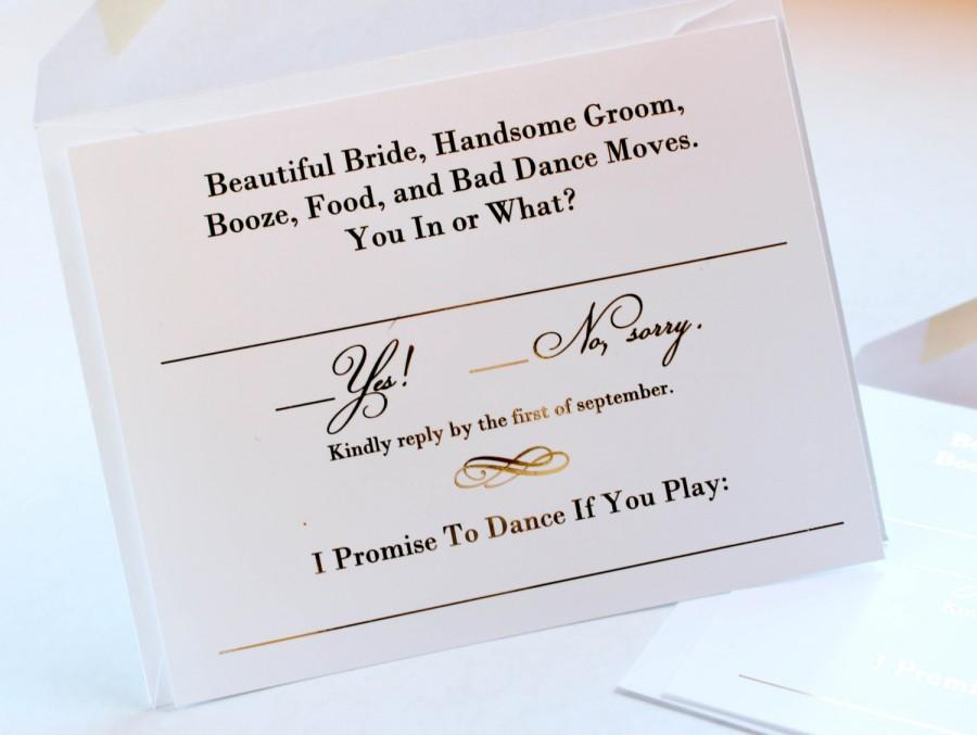 Gold Foil Wedding Invitation RSVP Cards   Metallic Gold Or Silver