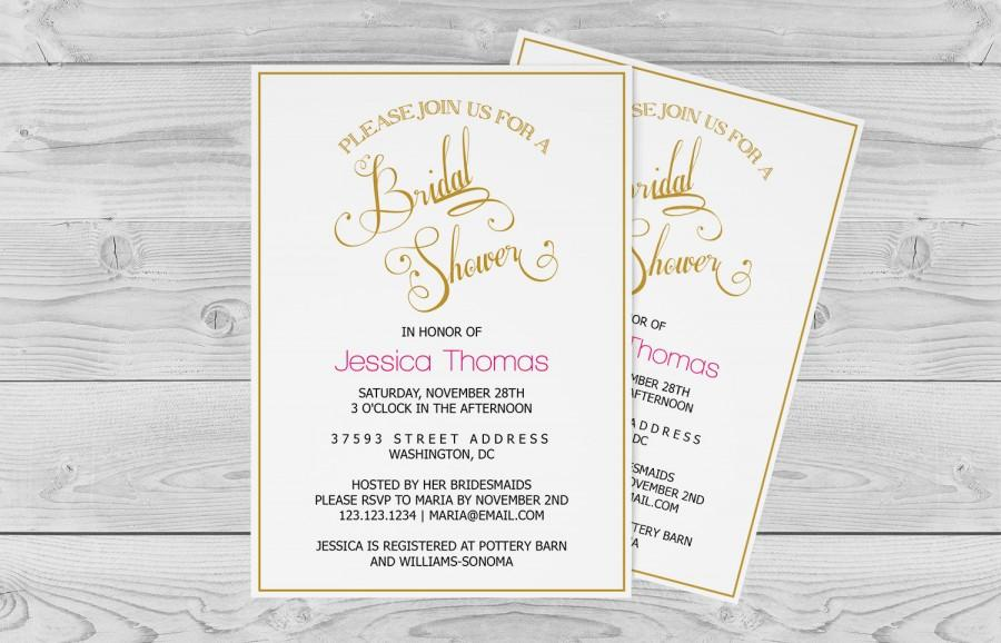 Bridal Shower Invitation Template - Golden Calligraphy Wedding - bridal shower invitation templates download