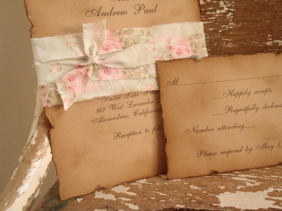 Vintage, Mint Green, Pink, Shabby, Kraft, Wedding Invitation, Rustic