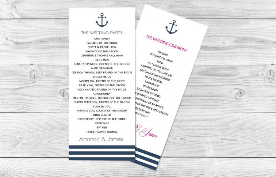 Nautical Wedding Program Template - 4\