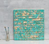 Abstract Painting, Turquoise Gold Art, Gold Leaf ...