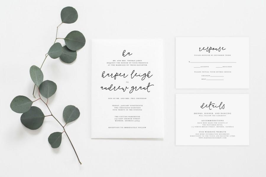 Wedding Invitation Set - Classic Invitation Set - Simple Wedding