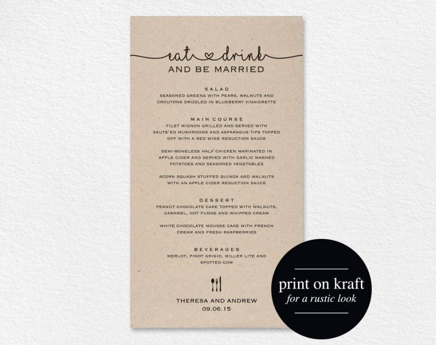 Wedding Menu Printable, Wedding Menu Template, Wedding Menu Cards