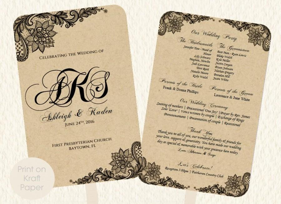 Wedding Fan Program Template Lace Kraft Rustic Style Print On Kraft