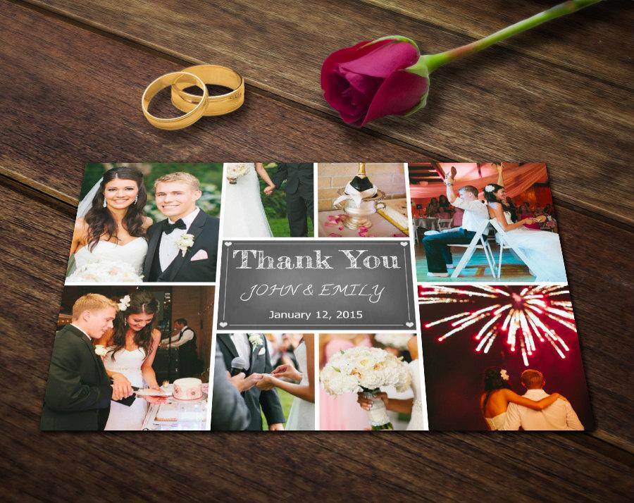 Wedding Thank You Card Template - Photoshop Templates - Photography - postcard collage template