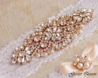 Rose Gold Wedding Garter Set, Bridal Garter Set, White ...