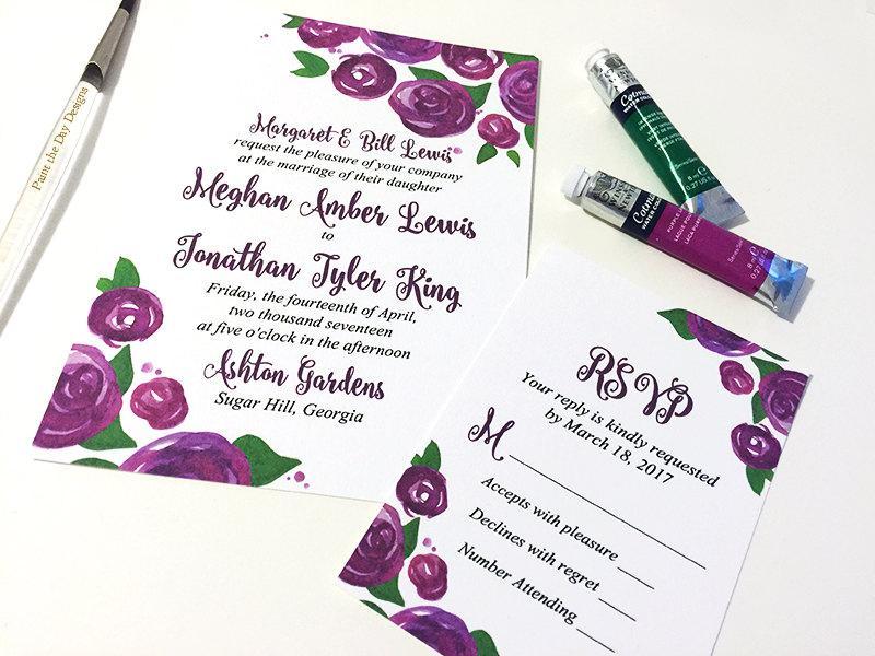 Rose Wedding Invitation Card - Watercolor Wedding Invitation RSVP