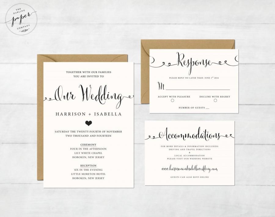 Printable Wedding Invitation Set - Wedding Invitation - Invitation