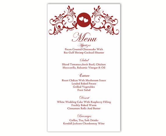 Wedding Menu Template DIY Menu Card Template Editable Text Word File - wedding menu template