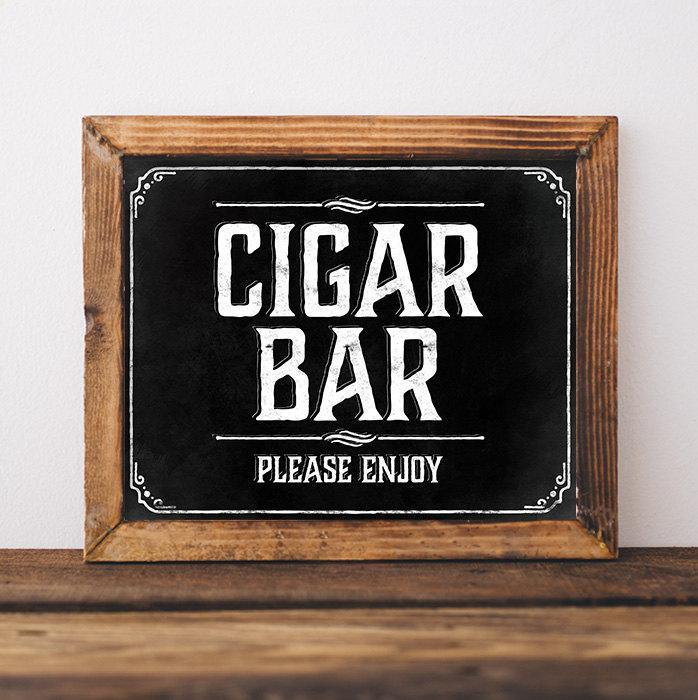 Chalkboard Wedding Cigar Bar Sign Rustic Wedding Decorations