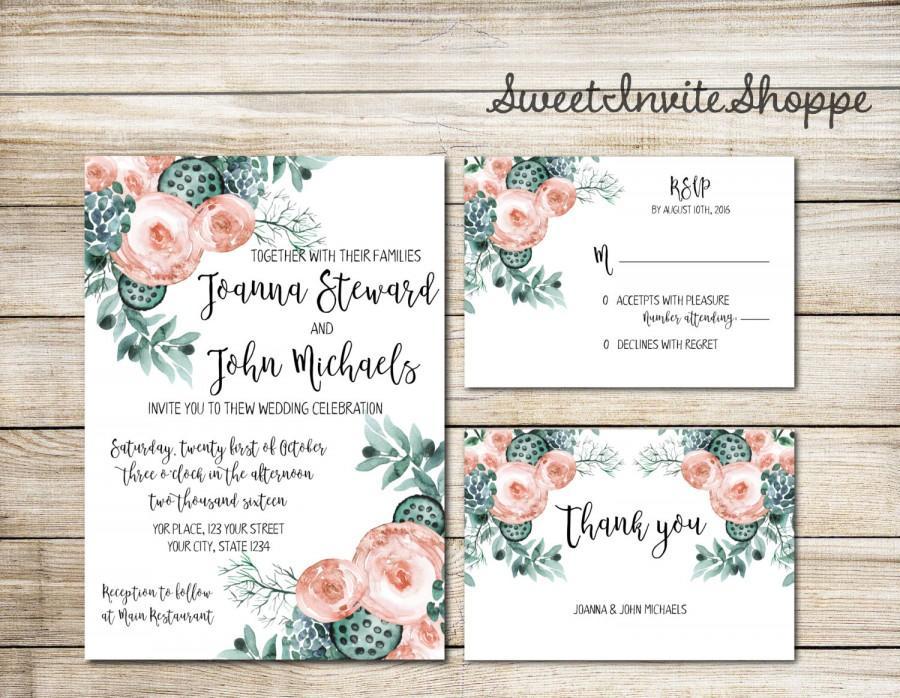 Succulent Wedding Invitation, Succulent And Peony Wedding Set, Boho