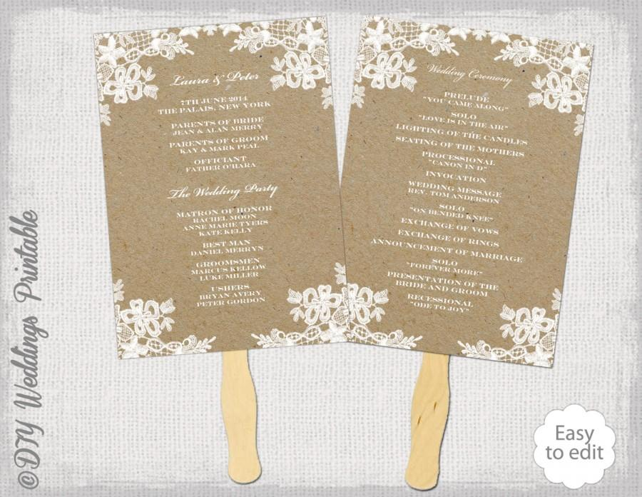 Rustic Wedding Fan Program Template \