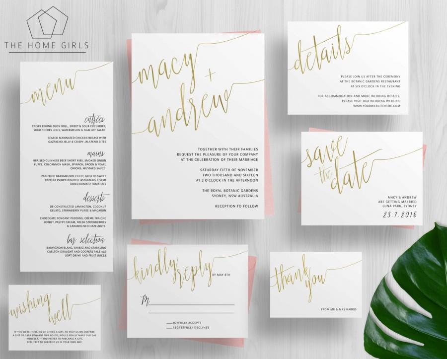 Printable Gold Foil Wedding Invitation Suite Calligraphy