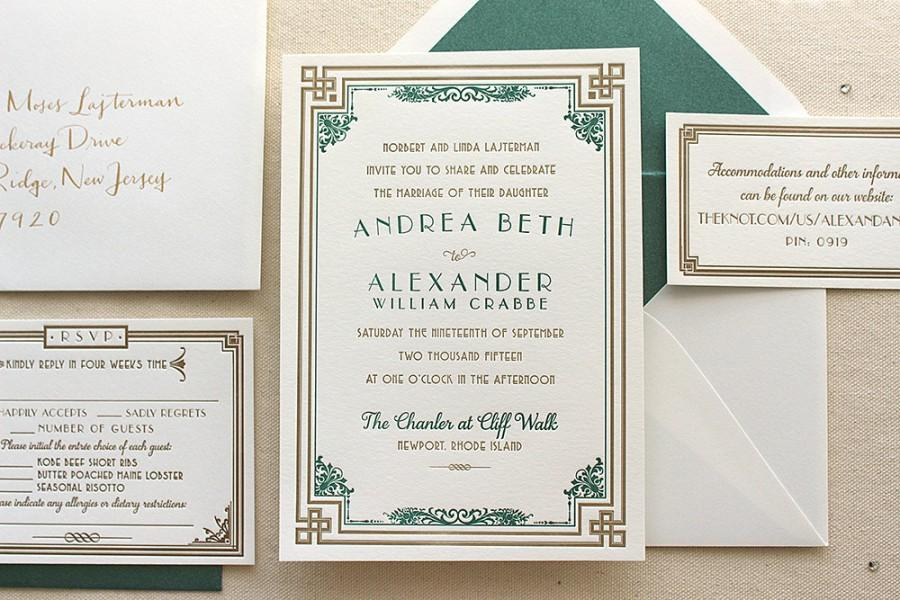 The Daisy Suite - Letterpress Wedding Invitation Suite - Art Deco