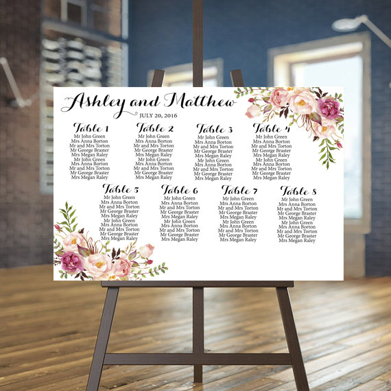 Wedding Seating Chart Printable, Rustic Guests List Printable