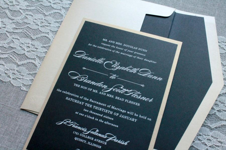 Black And Gold Wedding Invitation - Black Pocket Invitation, Formal