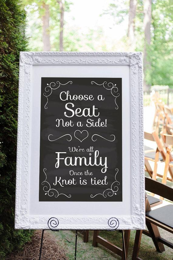 Pick A Seat Not A Side, Wedding Seating Sign, Wedding Ceremony Sign - a seating