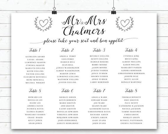 Wedding Seating Sign, Black And White Wedding Seating Plan, Modern