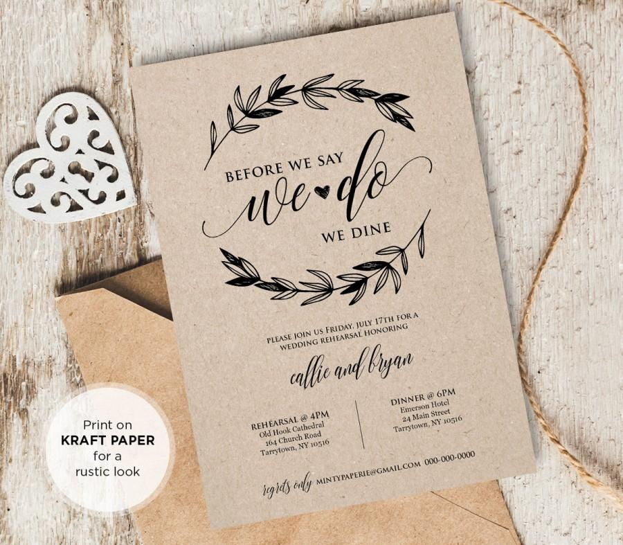 Rustic Wedding Rehearsal Invitation, INSTANT DOWNLOAD, Printable - printable dinner invitations