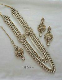 Designer Pearl Kundan Jewelry Set Indian Jewelry Kundan ...