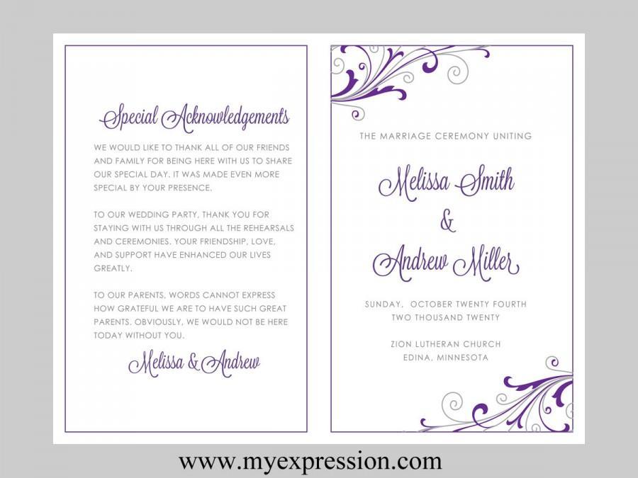 Wedding Program Template u2013 Swirl And Flourish (Purple \ Silver - wedding agenda sample