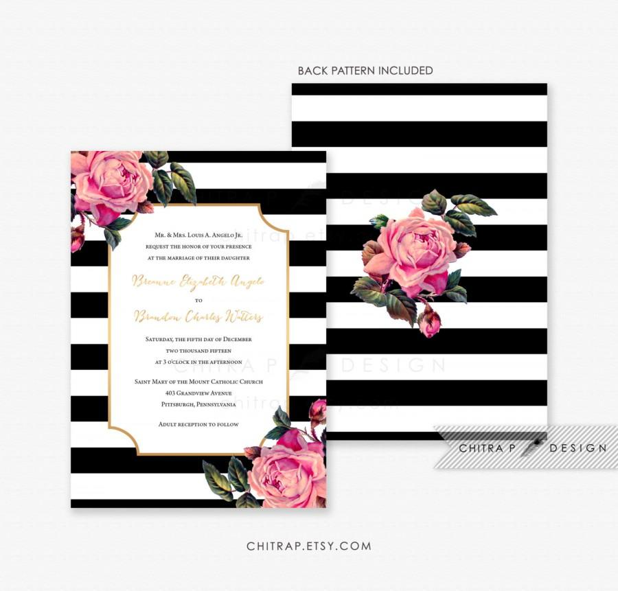 Black  White Wedding Invitation - Printed, Pink Gold Floral Invite - pink black and white weddings