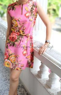 Floral Wedding Dress Pink, Bridesmaid Dress, Vintage Style ...