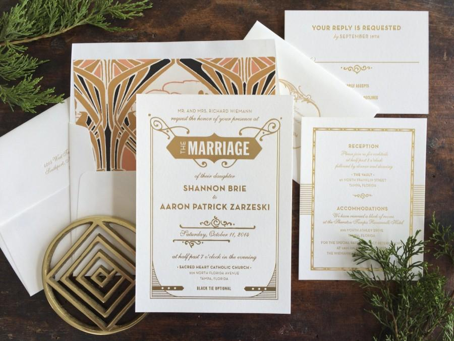 Gatsby Wedding Invitation, Letterpress Wedding Invitation, Art Deco