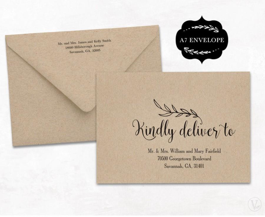 Wedding Envelope Template, Printable Wedding Envelope Template, A7 - A7 Envelope Template