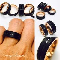 Mens Tungsten Ring, Rose Gold Ring, Black Tungsten, His ...