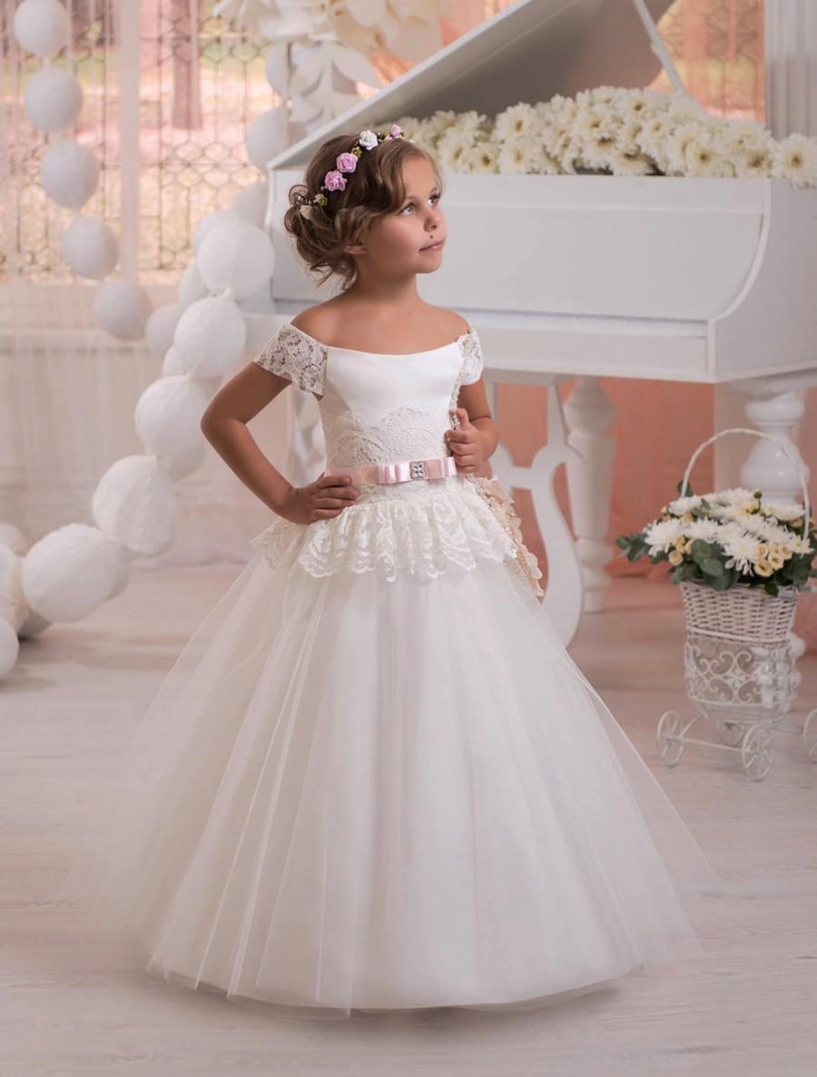Ivory Flower Girl Dress, Tulle Flower Girl Dress, Toddler