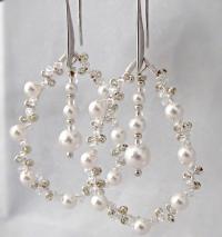 Silver And Pearl Crystal Earrings Bridal Earrings Pearl ...
