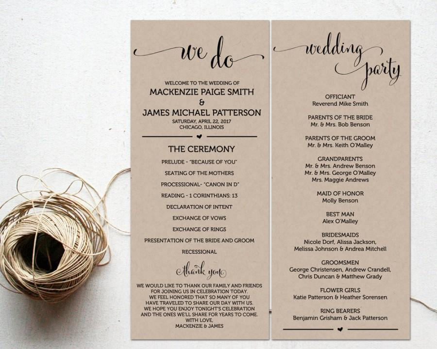 Ceremony Programs, Wedding Program Template, Ceremony Program - wedding program