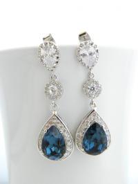 Navy Blue Earrings, Montana Blue Wedding Earrings, Cubic ...