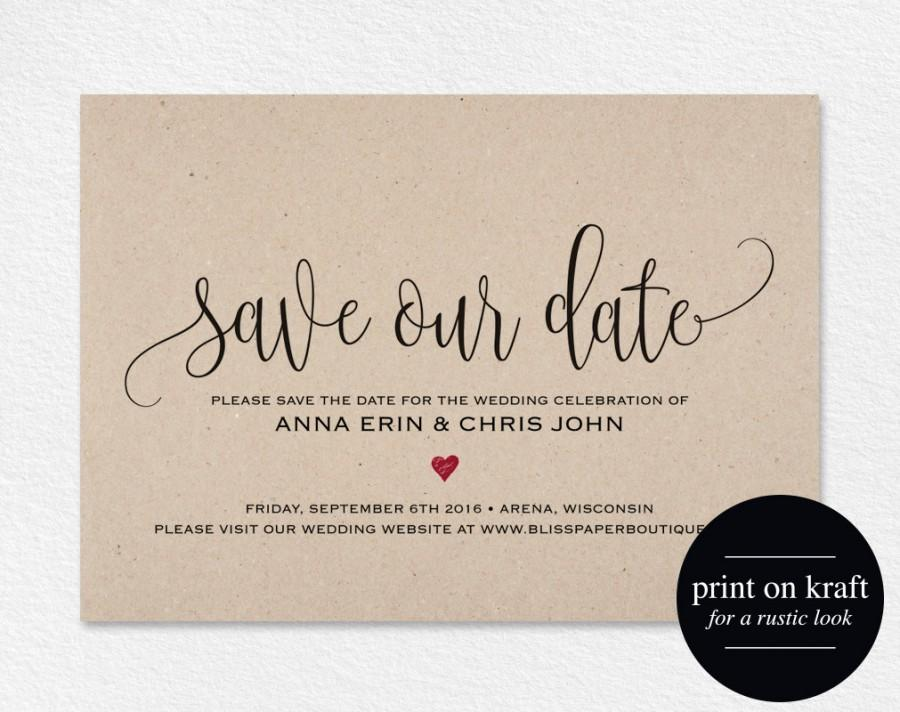 Save The Date Template, Save The Date Card, Save The Date Printable