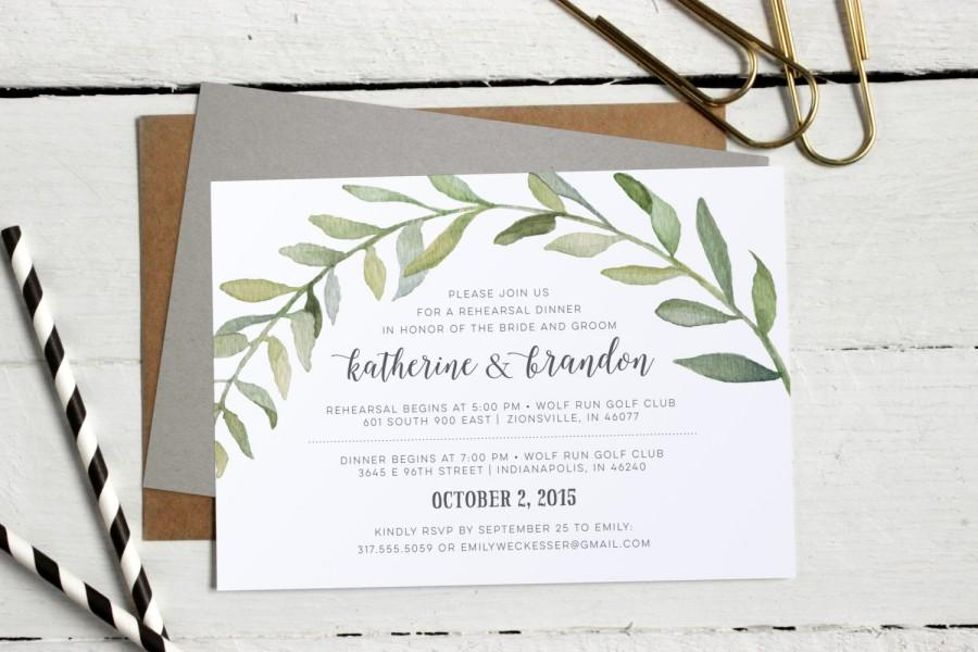 Watercolor Botanical Wreath Rehearsal Dinner Invitations - Formal - printable dinner invitations